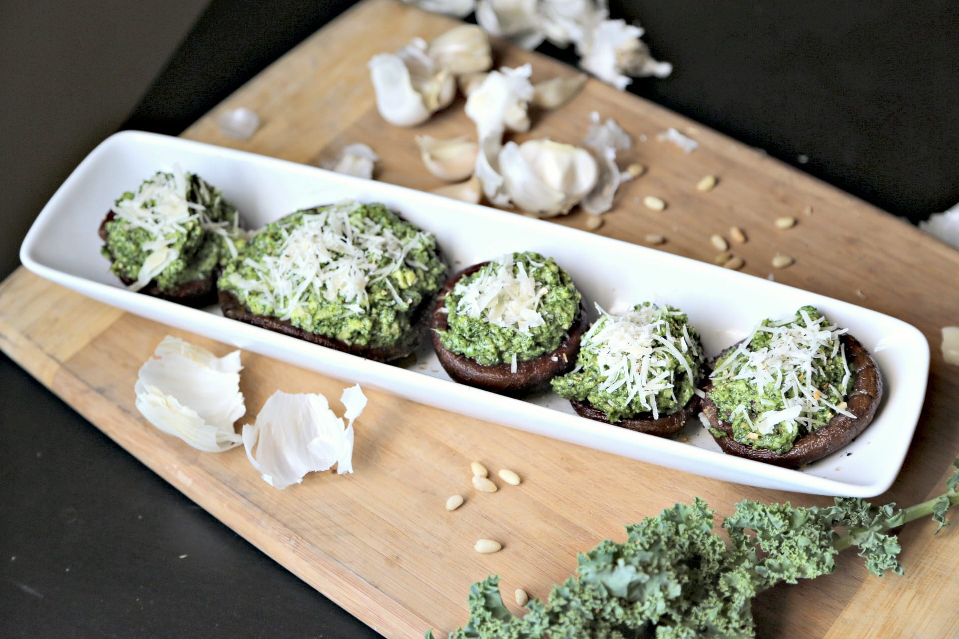 Avocado and Kale Pesto stuffed Portobello Mushrooms