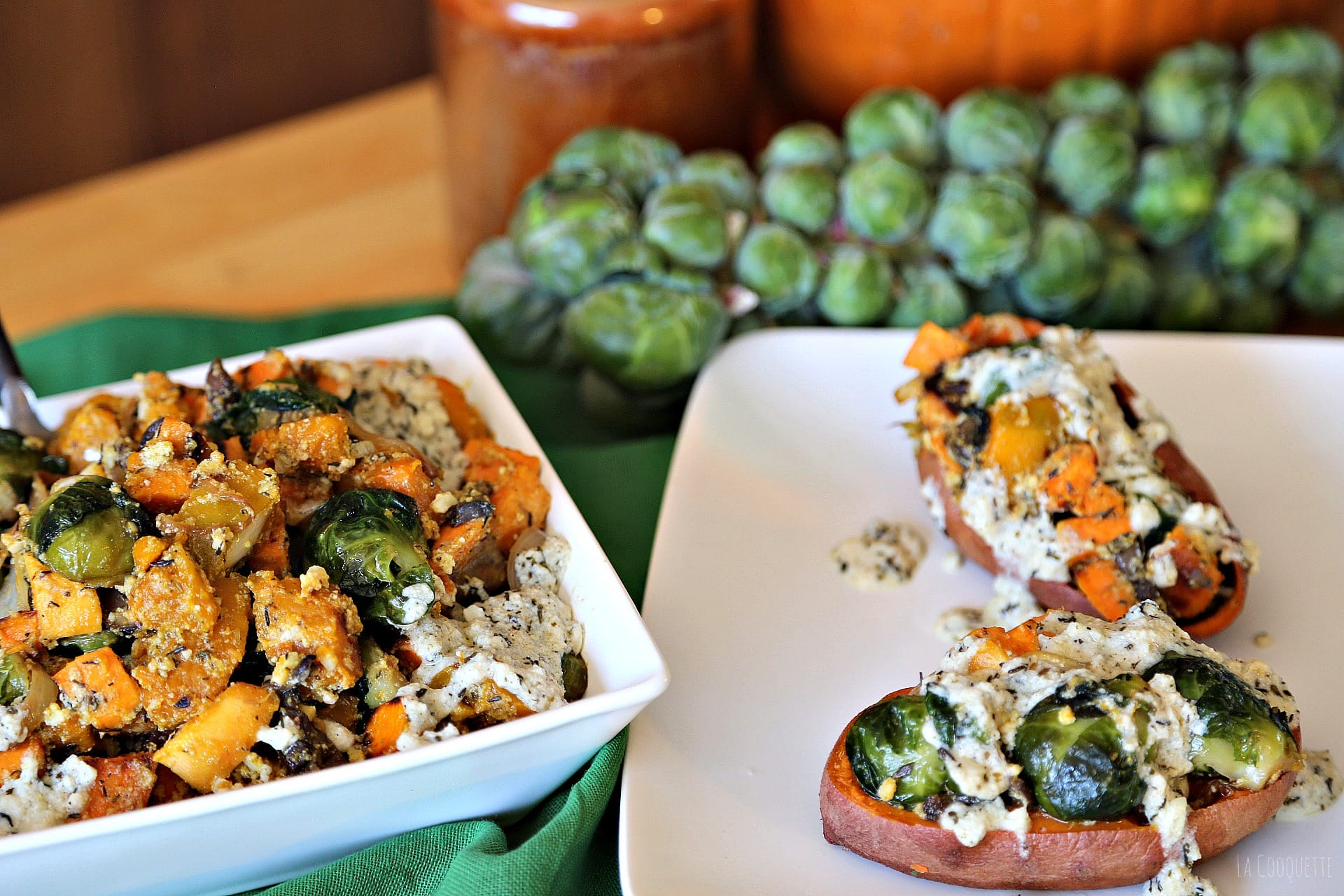 Fall Veggies in Roasted Sweet Potato Skins