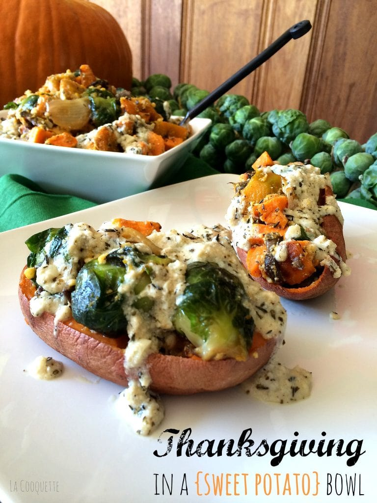 Fall Harvest in Roasted Sweet Potato Skins - La Cooquette Thanksgiving
