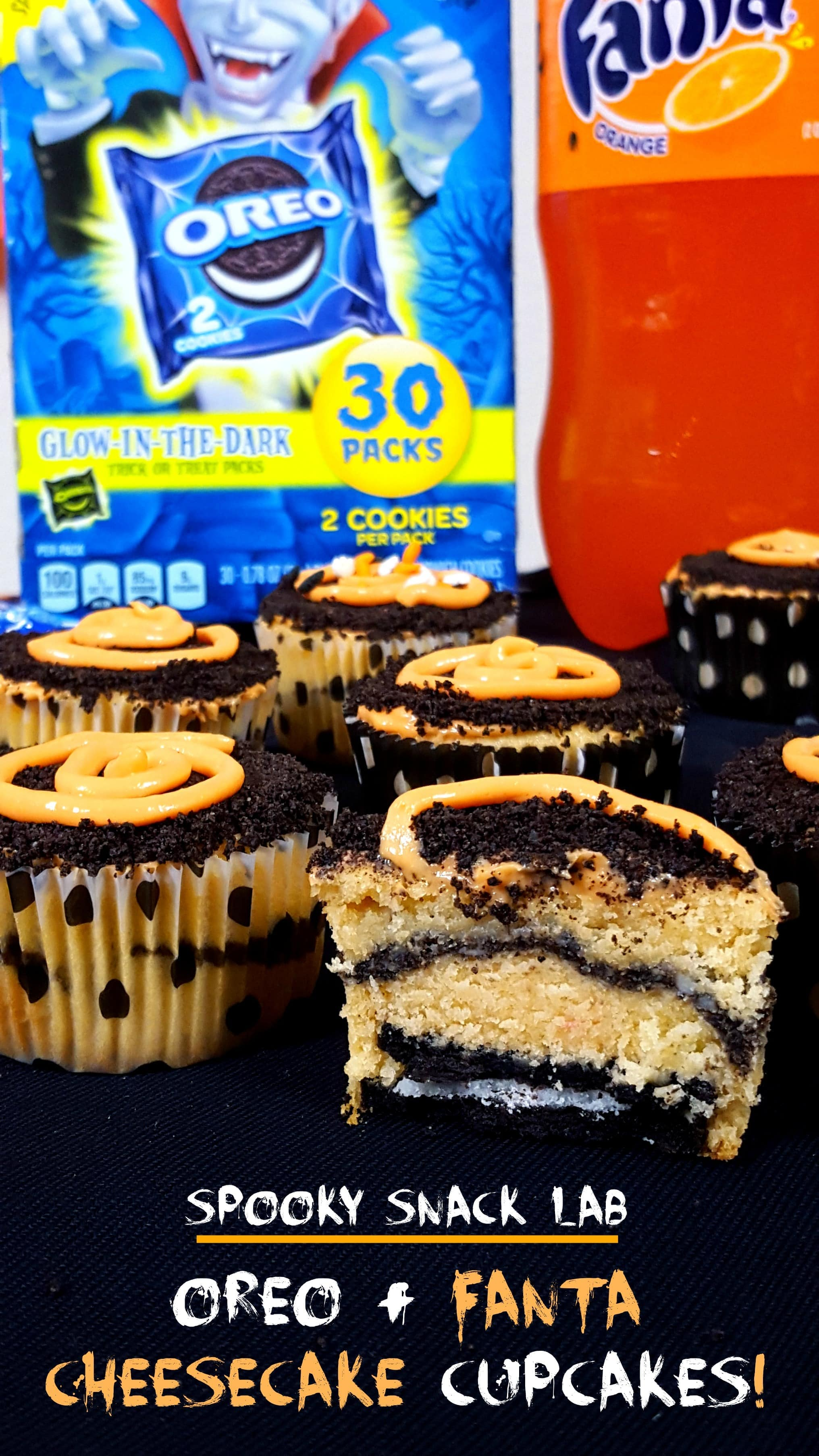 OREO and Fanta Halloween Cheesecake Cupcakes